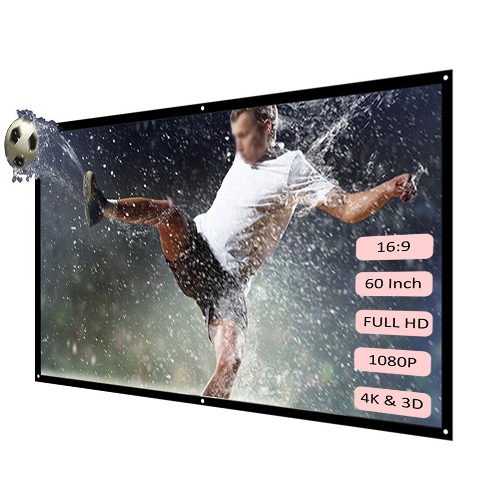 """H60 60/"""" Portable Projector Screen,HD 16:9 White 60 Inch,Diagonal Projection Screen Foldable Home Theater for Wall Projection Indoors Outdoors"""