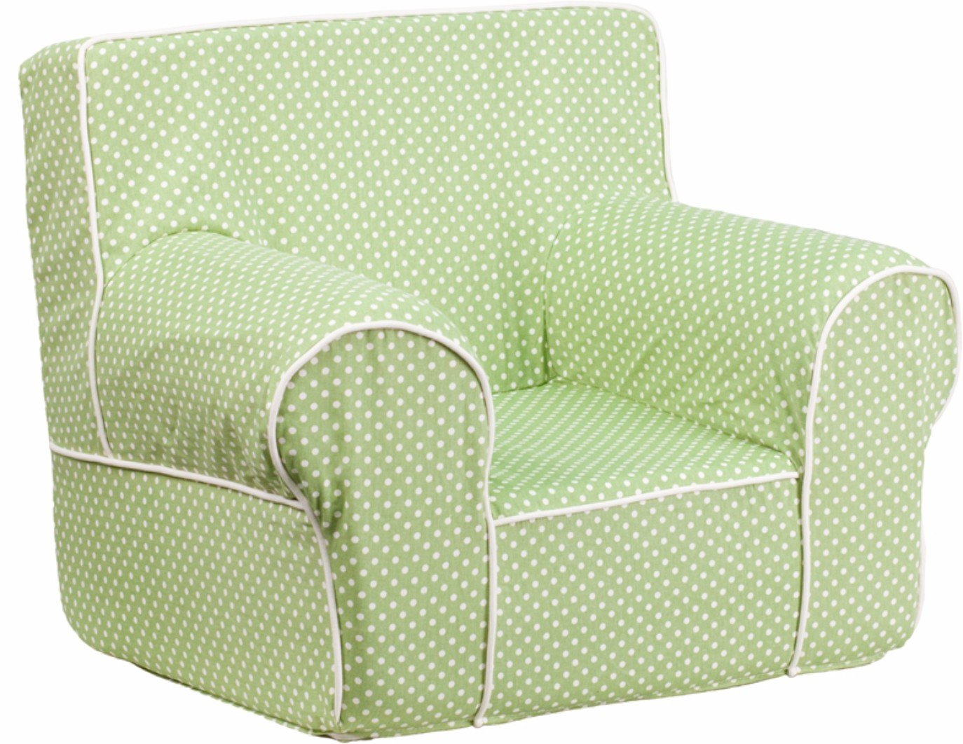 Winston Direct Kids Series Small Polka Dot Foam Chair with White Piping - Sage Green