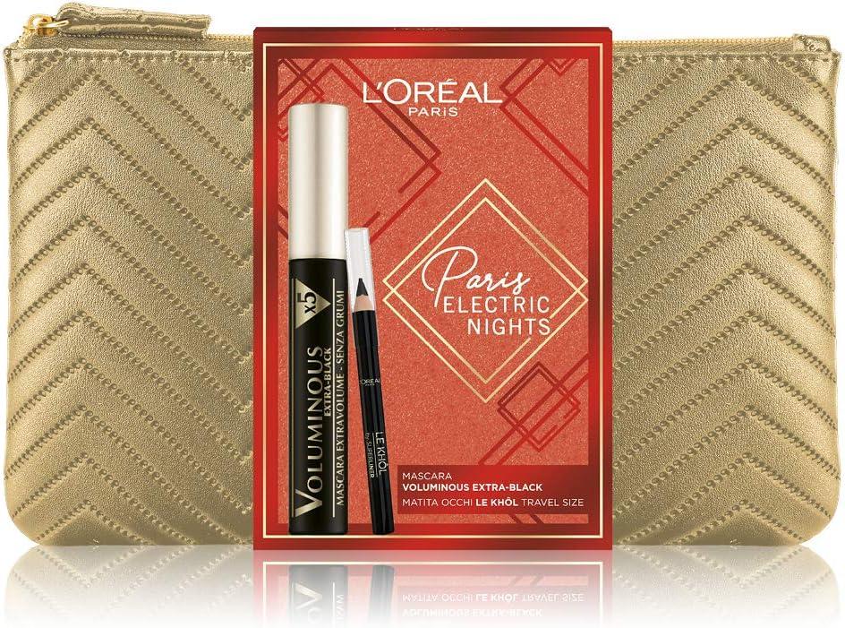 LOréal Paris Makeup - Caja de regalo para mujer, máscara de volumen alargadora de volumen extra negro y lápiz de ojos Le Khol, tamaño Travel: Amazon.es: Belleza