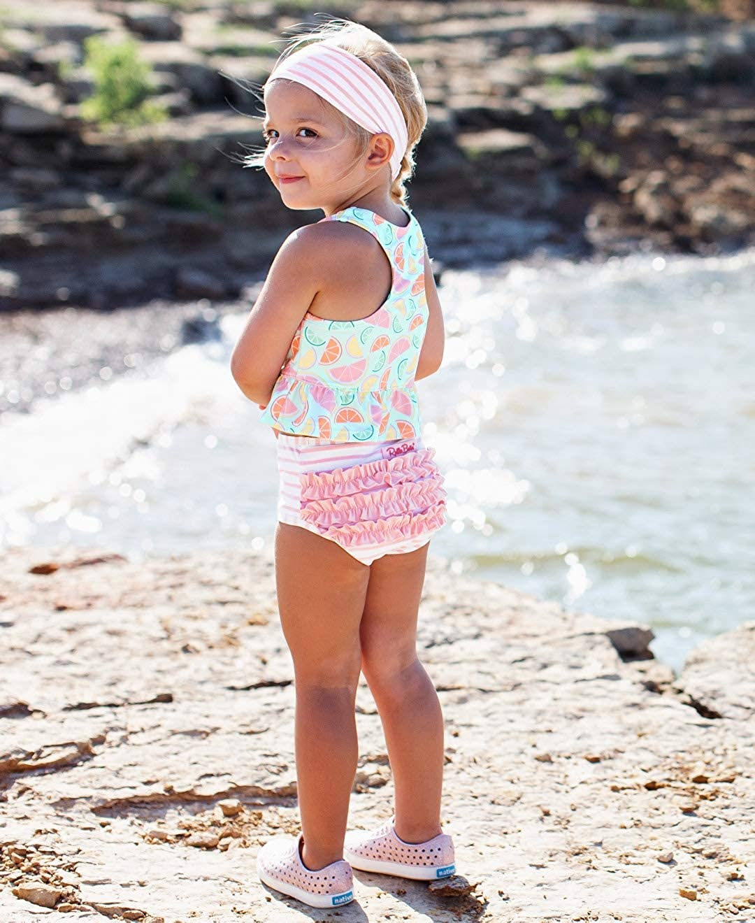RuffleButts Baby//Toddler Girls Cropped Peplum Tankini 2 Piece Swimsuit w//Ruffles