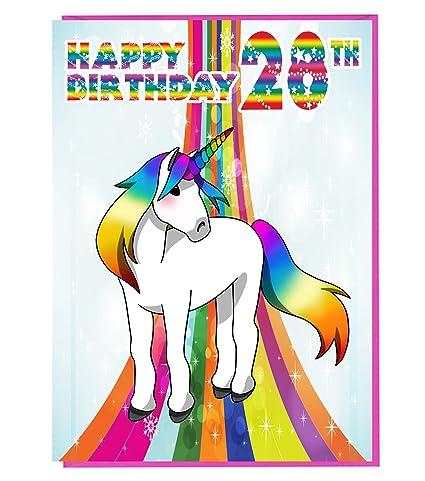 Tarjeta de 28 cumpleaños de unicornio mágico para dama, hija ...