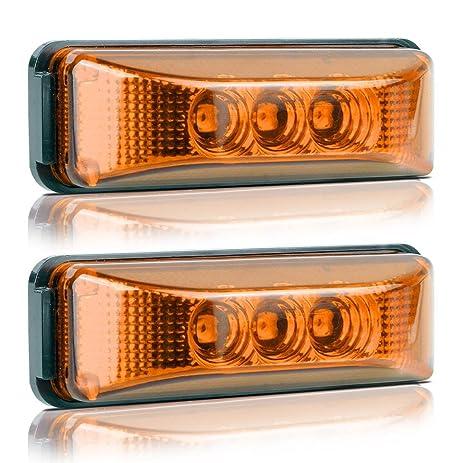 Amazoncom Partsam 2PCS 3 Leds Truck Trailer Front Rear LED Side