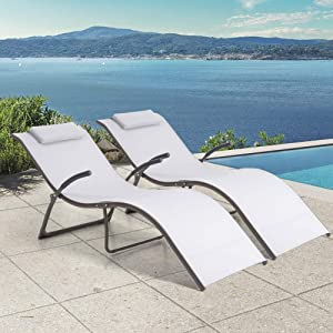 Crestlive Products Aluminium Patio Chaise Lounge Chairs, Outdoor Portable Folding Lounges with Pads, All Weather Furniture in Brown Finish for Lawn, Beach, Deck, Poolside Sunbathing(2 PCS Light Gray)