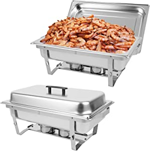 Restlrious 8 QT Chafing Dish Buffet Set 2 Packs Stainless Steel Foldable RectangularChafer Full Size w/Water Pan, Food Pan, Fuel Holder and Lid