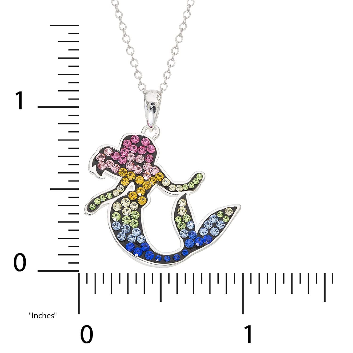 Disney Little Mermaid Jewelry for Women and Girls, Ariel Silver-Plated Brass Rainbow Swarovski Crystal Necklace with Pendant, 18 Chain
