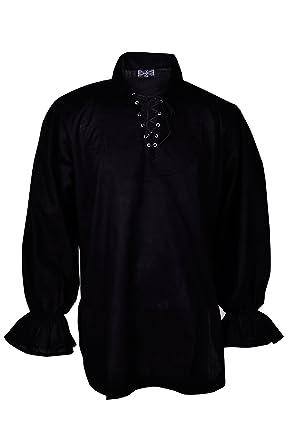 a9e161b037 Black Linen Pirate or Renaissance Shirt for Adults Standard Size Kostüme &  Verkleidungen Herrenkostüme