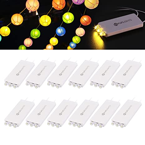 YUNLIGHTS 10Pack Warm Weiß LED Ballon Lichter mit 3 LEDs für Papierlaternen-Ballons Geburtstag Happy Birthday Hochzeitsdekora