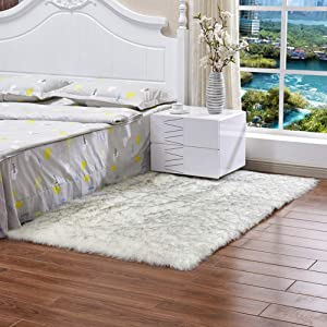 Area Rug Thick Faux Fur Sheepskin, Rectangle Plush Carpet Luxury Soft Floor Rug Bedside Rugs for Living Bedroom Home Decor-White 1 Rectangle 75x120cm(30x47inch)