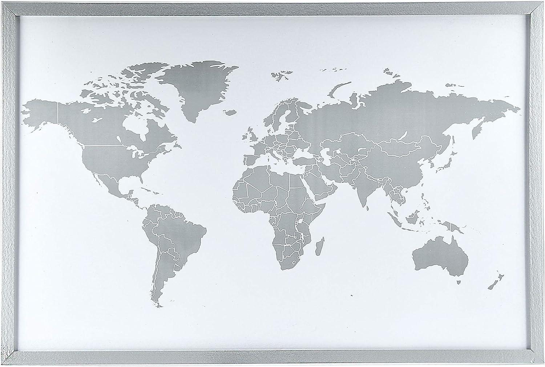 Mapa del Mundo Magnético para pared, Plateado, 60 x 40 cm: Amazon.es: Oficina y papelería