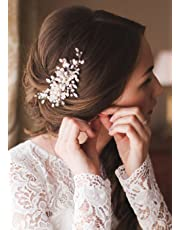 Kercisbeauty Crystal Headband Wedding Bridal Hair Comb Side Headpiece Hair dress for Brides Beaded Hair Comb for Women Girls Special Event Jewelry (Silver)