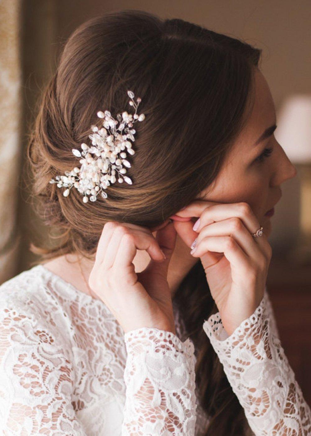 Kercisbeauty Wedding Bridal Bridesmaids Flower Girl Vintage Crystal Pearl Combs Headband Bridal Hair Comb Headpiece Long Curly Bun Hair Accessories,Wedding Hair Piece Vintage Hair Comb (Gold)
