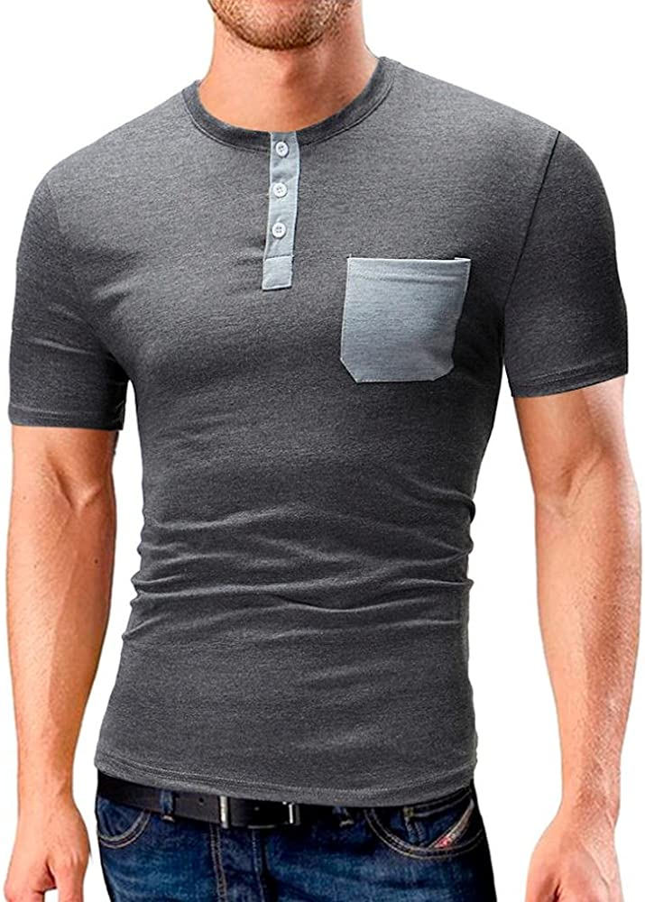 OHQ Camisas De Hombre Camiseta De Manga Corta con Bolsillo En Color Puro De Manga Corta para Hombre Red Armada Gray Camiseta Casual De Verano De Los Hombres Blusa Moda (M, Gris):