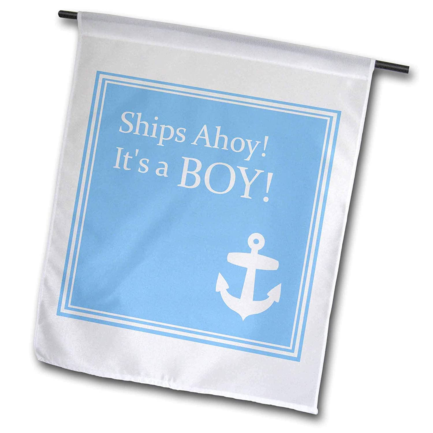 3dRose Fl_151388_1 Ships Ahoy Its a Boy for Baby Showers/Light Powder Blue with White Anchor Sailor Nautical Theme Garden Flag, 12 by 18-Inch