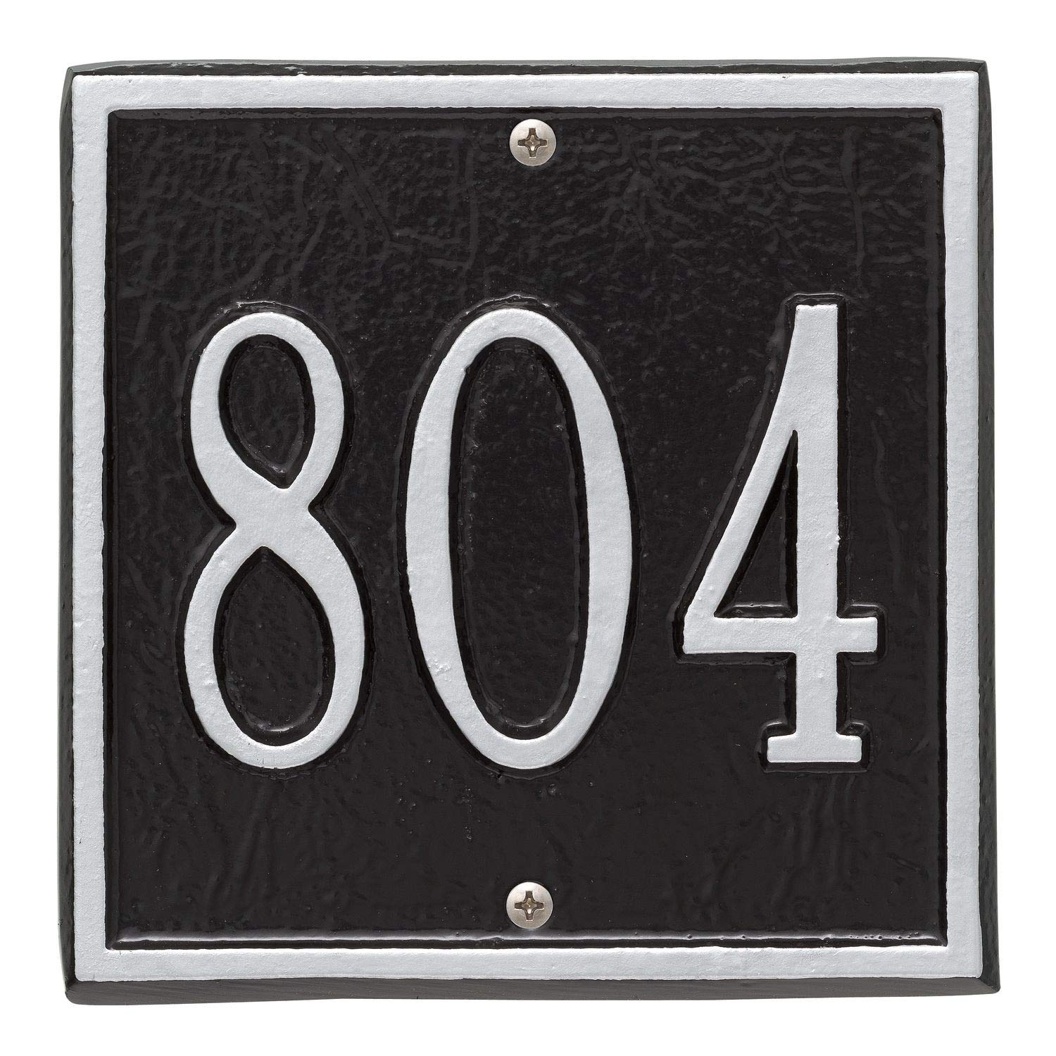 Whitehall Personalized Cast Metal Address Plaque - Square 6'' x 6'' House Number Sign - Allows Special Characters - Black/Silver