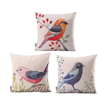 Amazon Monkeysell 40pcs Custom LOVE Birds Pattern Linen Mesmerizing Spencer Home Decor Tweets Bird Throw Pillow