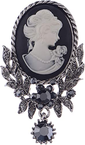 Vintage Cameo Victorian Style crystal Wedding Party Women Pendant Brooch Pin ca