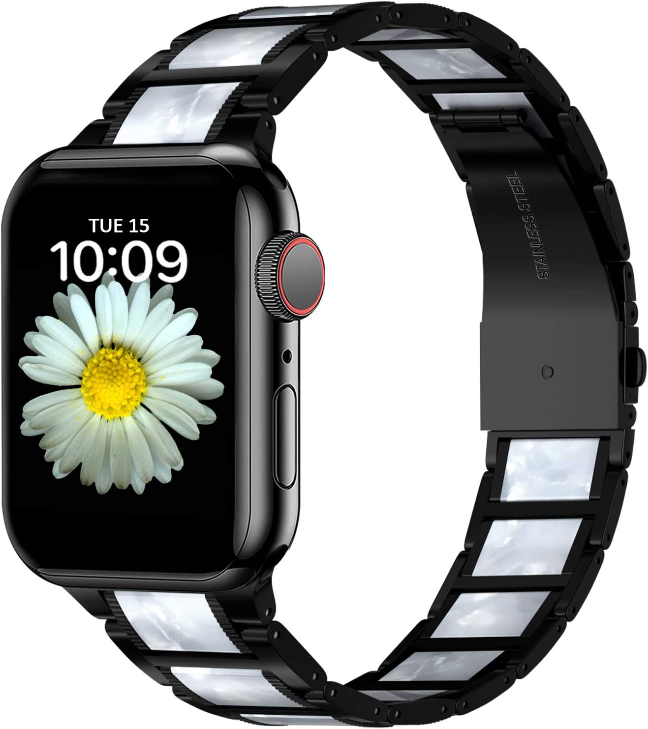 Aowemea Compatible with Apple Watch Band 38mm 42mm Upgraded Stainless Steel Resin Retro Floral Women Strap Bracelet Wristband for iWatch SE Series 6/5/4/3/2/1 (Black+Marble White, 38/40mm)