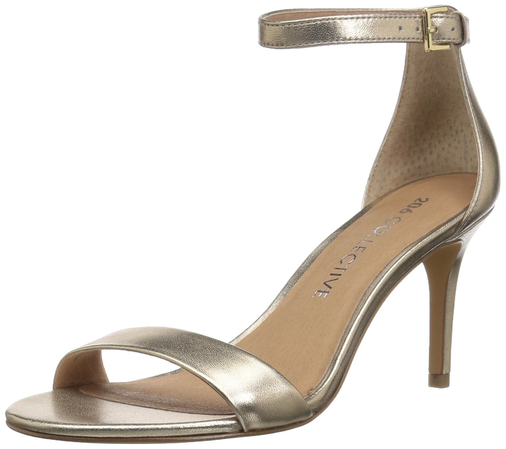 206 Collective Women's Anamarie Stiletto Heel Dress High Heeled Sandal, Gold Leather, 5 B US
