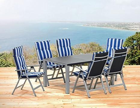 1 mesa de jardín 160 cm 6 silla plegable 6 cojines Sun ...