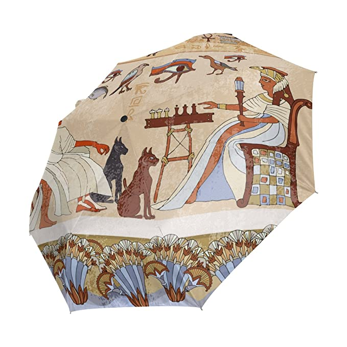 Amazon.com : Egyptian Decor Lightweight UPF 50+ Anti-UV Parasol Waterproof Windproof 3 Folds Auto Open Close Umbrella : Sports & Outdoors