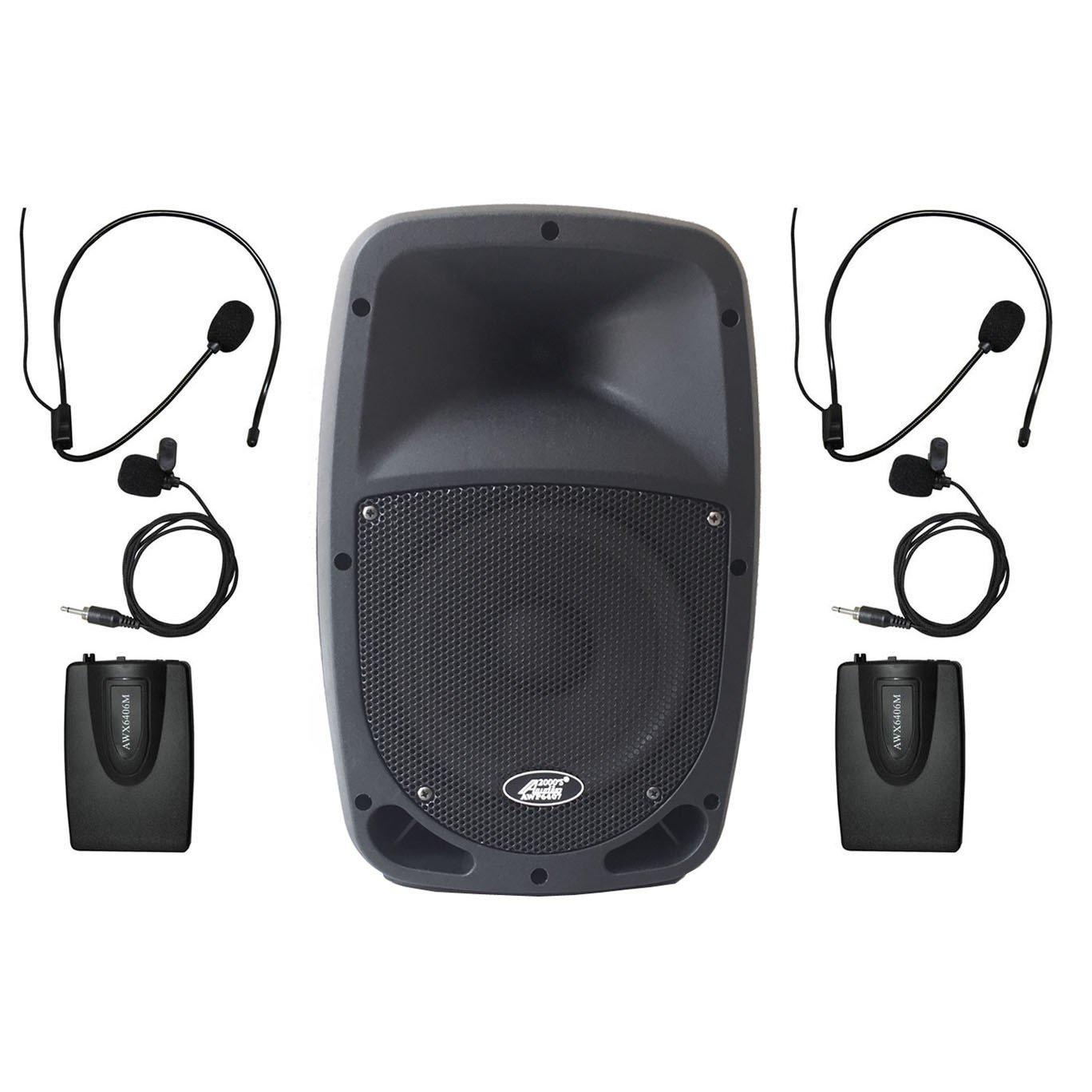 Audio 2000s 6407M 30W 8'' Dual Channel Wireless Microphone Bluetooth Portable PA System with 2 Bodypack