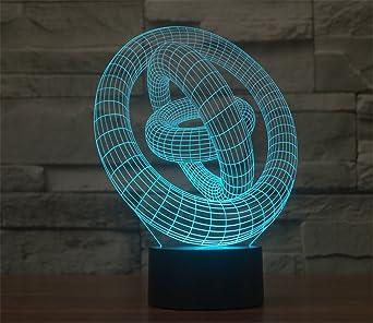 Touch Illusion Smartera® Abstrait Couleur Bouton 3 Entouré Lampe Changement De Usb 3d Led Anneau 80PwOkn