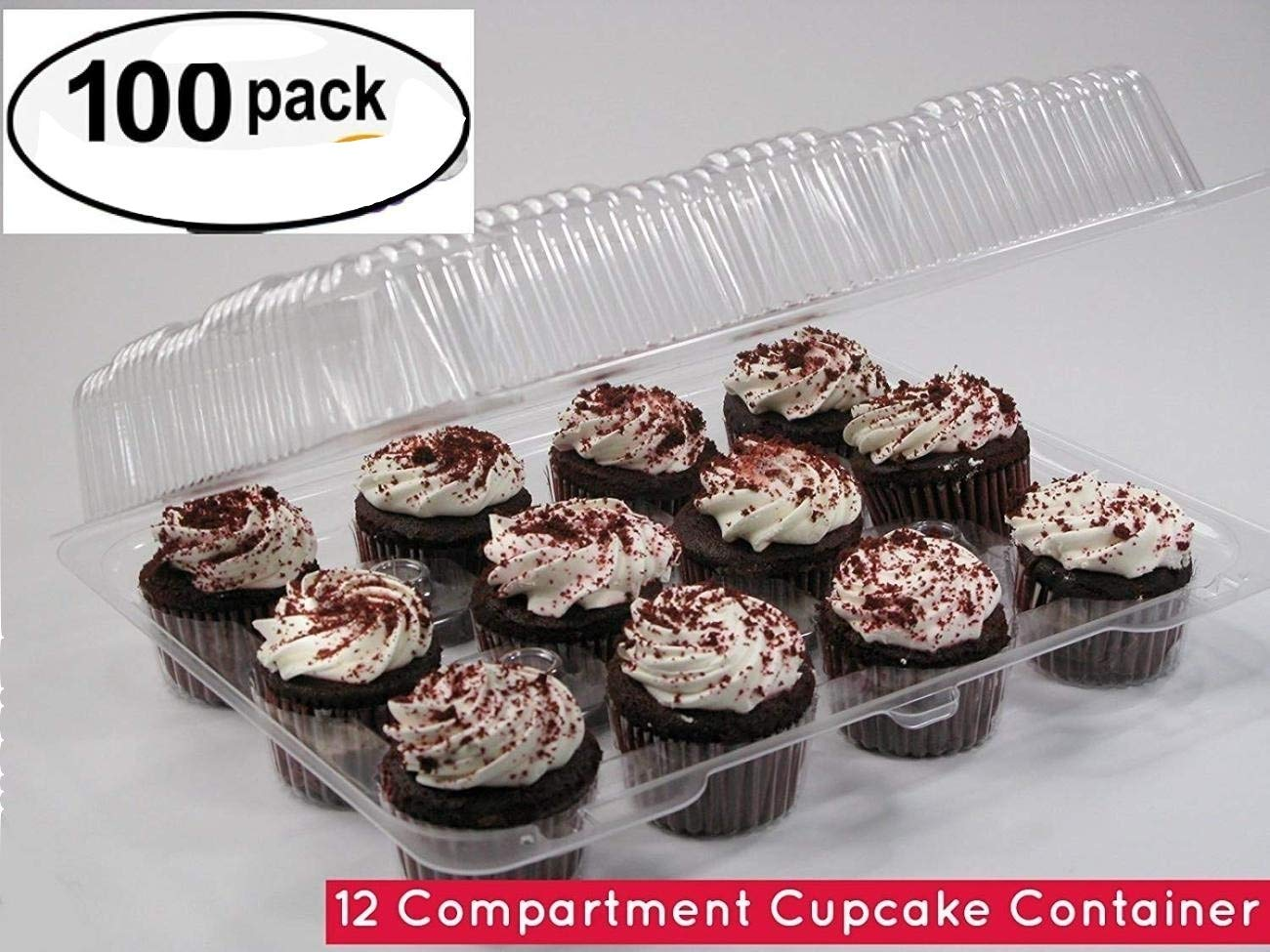 12-Compartment Cupcake Container with Hinged Lid, Clear (100, 12- Compartment)