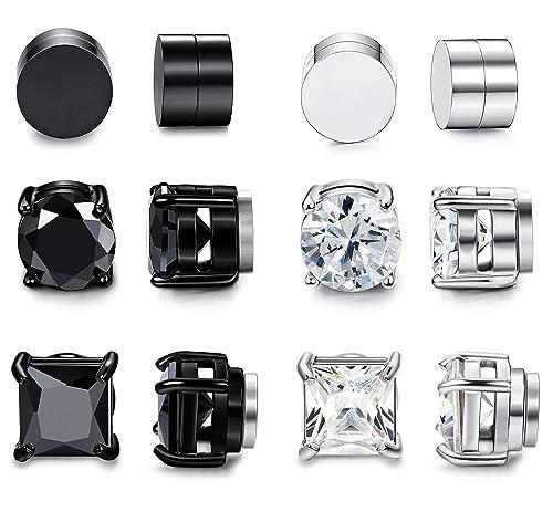 079312a05 Amazon.com: FIBO STEEL 6 Pairs Magnetic Stud Earring for Men Women Black CZ  Magnet Non Pierced Clip On Earrings Set: Jewelry