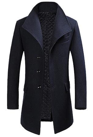Homme Hiver Manteau Long Trench-Coat Chaud Slim fit Casual Blouson en Laine  Couleur Unie 08a8a93ac8e0