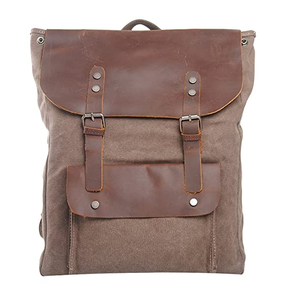 a2c41a5ab43f Zhhlaixing Military Vintage Canvas Leather Shoulder Bags Womens Backpack  College Style Leisure Travel Bags  Amazon.co.uk  Clothing