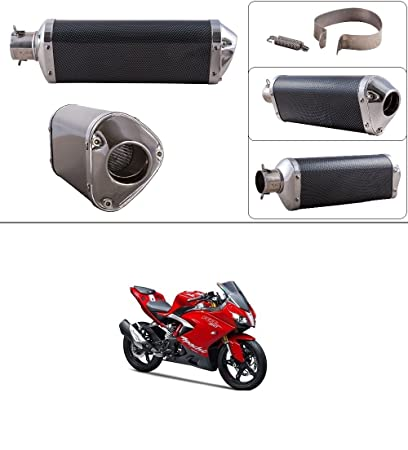Autostark Triangle Carbon Finish Silencer Muffler Exhaust Silver For
