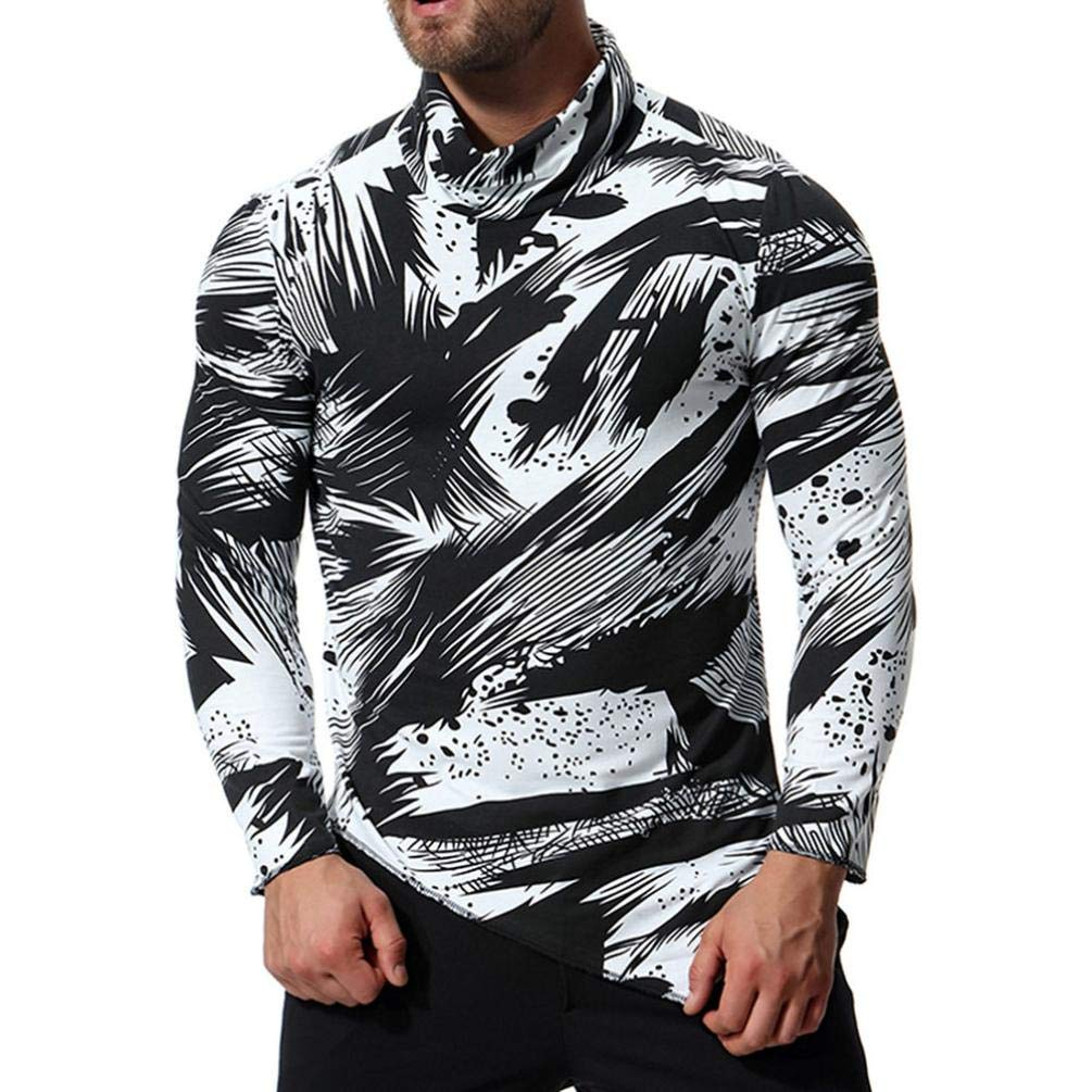 Men Printing Tee Male Long Sleeve T Shirt Oxford Formal Casual Suits Shirts Blouse Top by SanCanSn (White,2XL) by SanCanSn Men Top (Image #1)