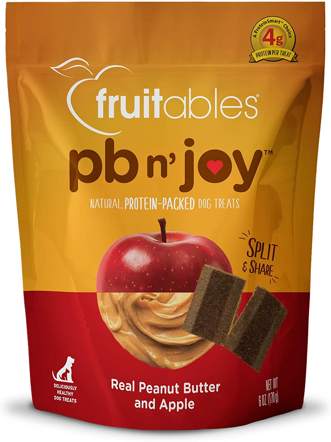 Fruitables pbn'joy Dog Treats - High Protein Natural Dog Treats - Made with Real Peanut Butter - Free of Wheat, Corn and Soy - 6 Ounces