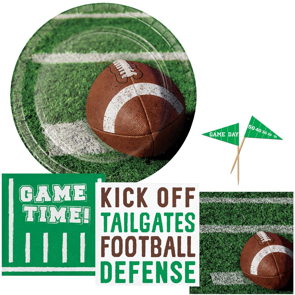 Football Tailgating Party Supplies - Serves 16 - Includes Plates, Napkins and Game Day Flag Picks