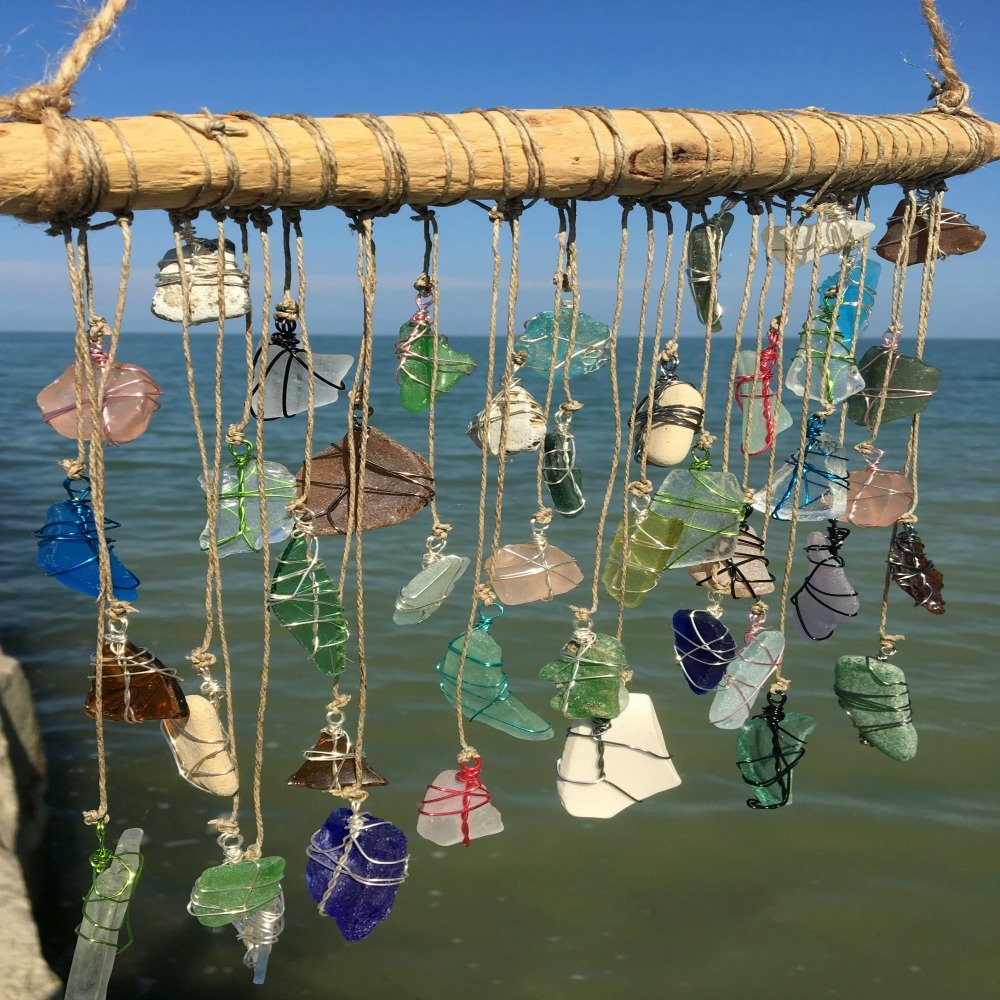 BohoBeach Glass Sun Catcher Eco Friendly Art Whimsical Driftwood Beach Wedding Swap Party Gift by Pier Beach Glass (Image #1)
