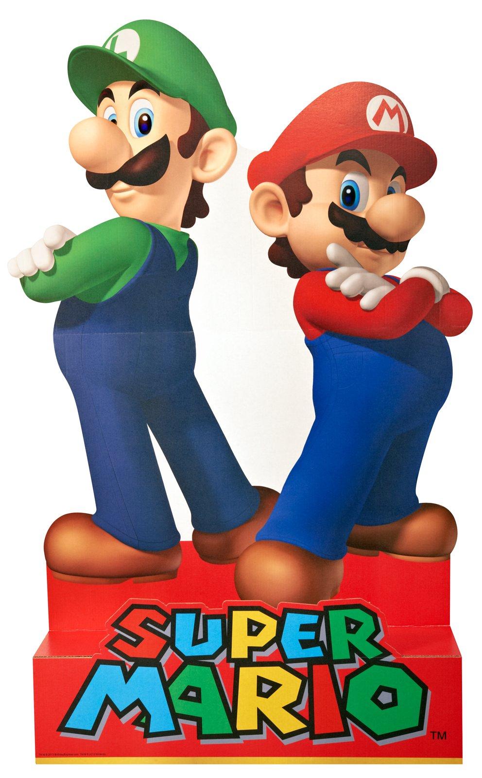 BirthdayExpress Super Mario Party Supplies - Mario & Luigi Life Size Cardboard Standup Combo Kit