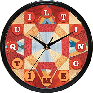 Quilting Time Clock - Solar - Custom Quilt Design Wall Clock with Precision Quartz Quality Silent Non Ticking Sweeping Mechanism Perfect for Any Room. Makes a Great Gift.