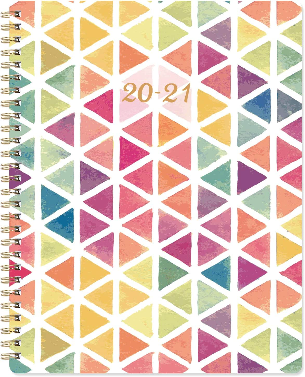"""2020-2021 Planner - Academic Weekly & Monthly Planner with Marked Tabs, 8"""" x 9.7"""", Thick Paper + Contacts + Calendar + Holidays, July 2020 - June 2021, Twin-Wire Binding - Watercolor Triangle"""