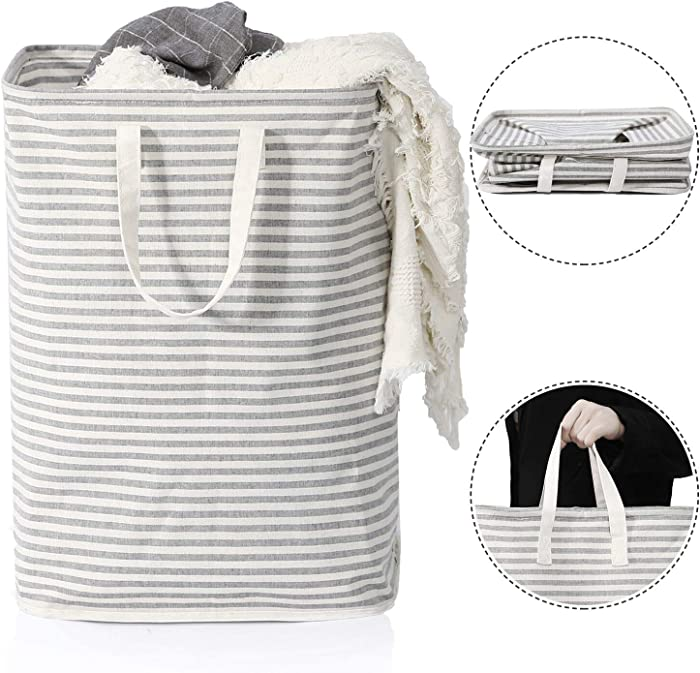 Vieshful Laundry Hamper, 72L Freestanding Laundry Basket with Long Handles to Storage Clothes Toys, Large Foldable Clothes Basket, Grey