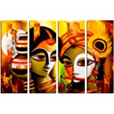 eCraftIndia 4 Panel Radha Krishna Canvas Painting