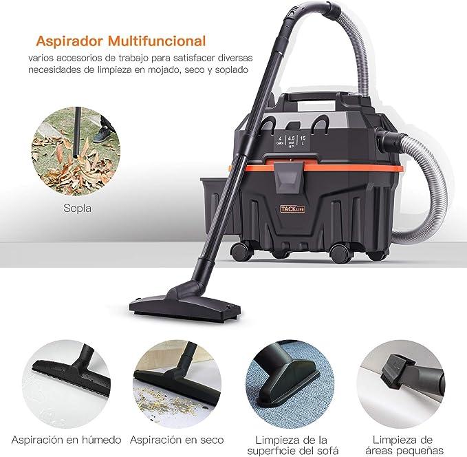 TACKLIFE Aspiradora en húmedo y seco, 15L 1200W Aspiradora en húmedo, seco y soplado, función 3 en 1, Apta para Uso en Interiores y Exteriores- PVC01B: Amazon.es: Bricolaje y herramientas