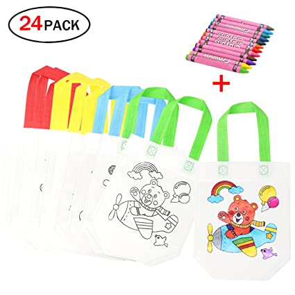 mi ji Lote 12 Bolsas para Colorear,DIY Bolsas Infantiles para Colorear,12 Diferentes Diseño + 12 Pasteles de Aceite Ideal para Regalos Bolsas para ...