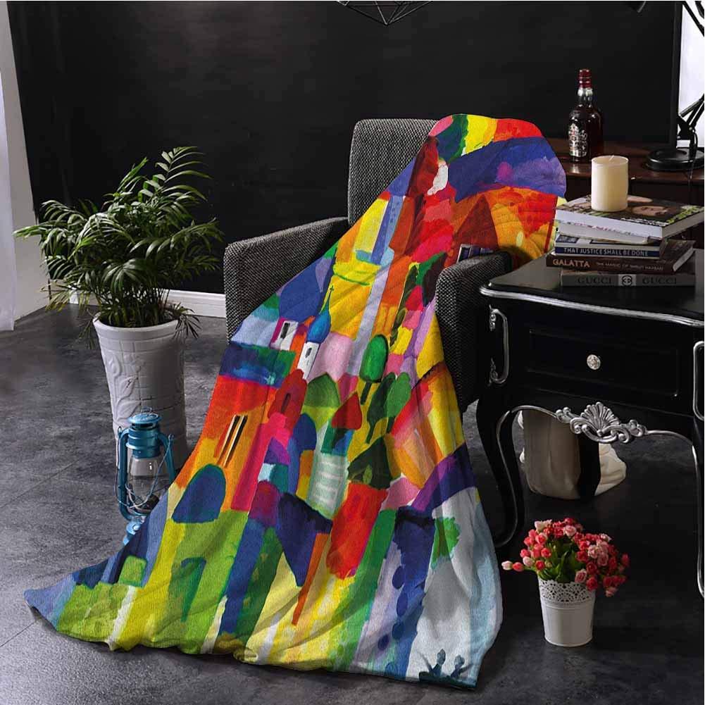 Art Bedding Fleece Blanket Queen Size Modern Vivid Abstract Architectural Buildings Urban Apartment Houses Village Landmark Super Soft Fuzzy Elegant Blanket W70 x L93 Inch Multicolor