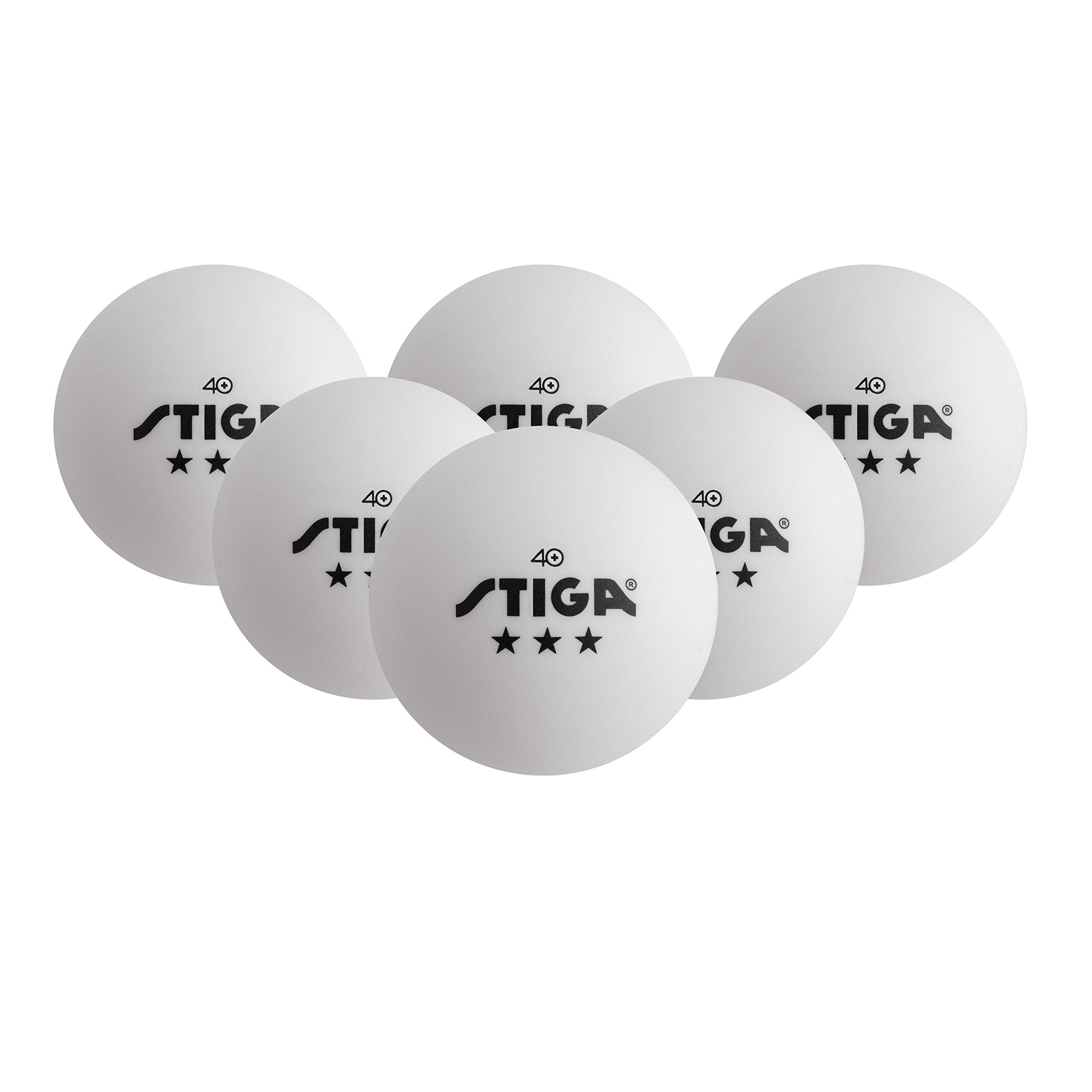 STIGA 3-Star Superior-Quality White Table Tennis Balls for Tournament Play (6-Pack) (10197)