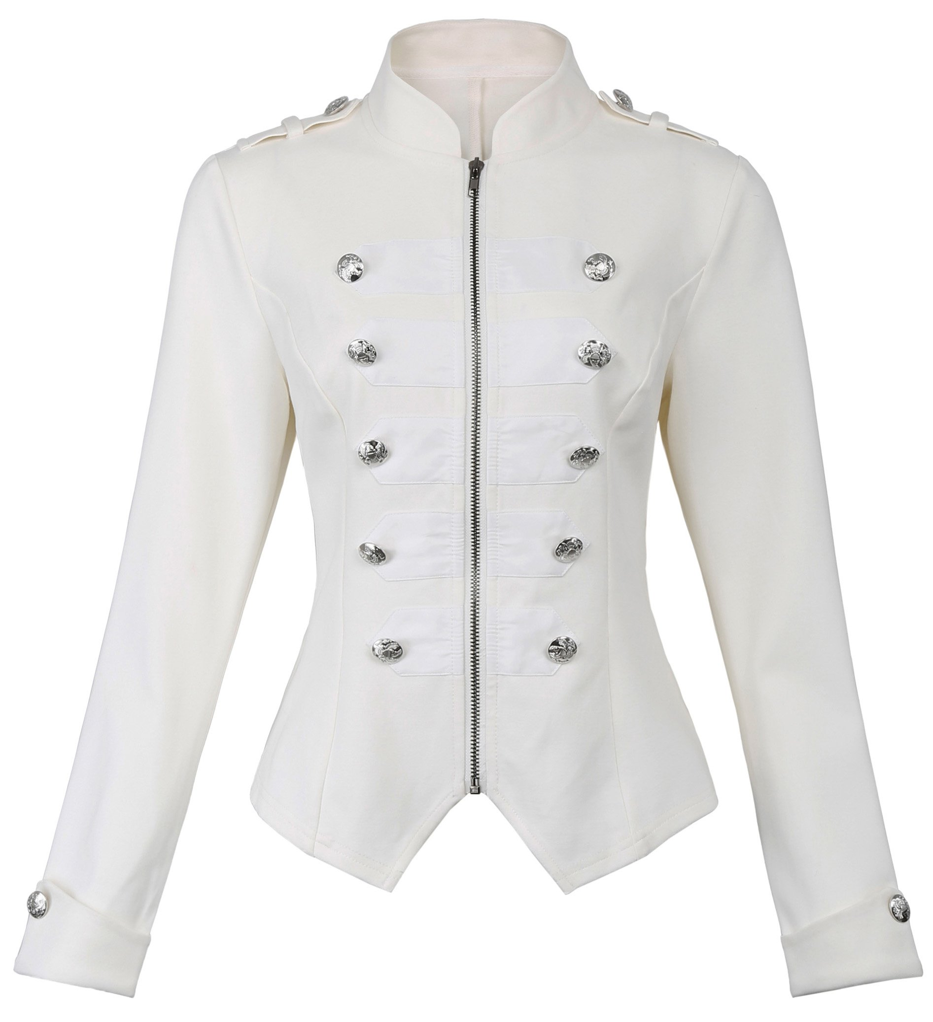 Kate Kasin Womens Victorian Steampunk Ringmaster Jacket Military Blazer (Off-White, Large) by Kate Kasin