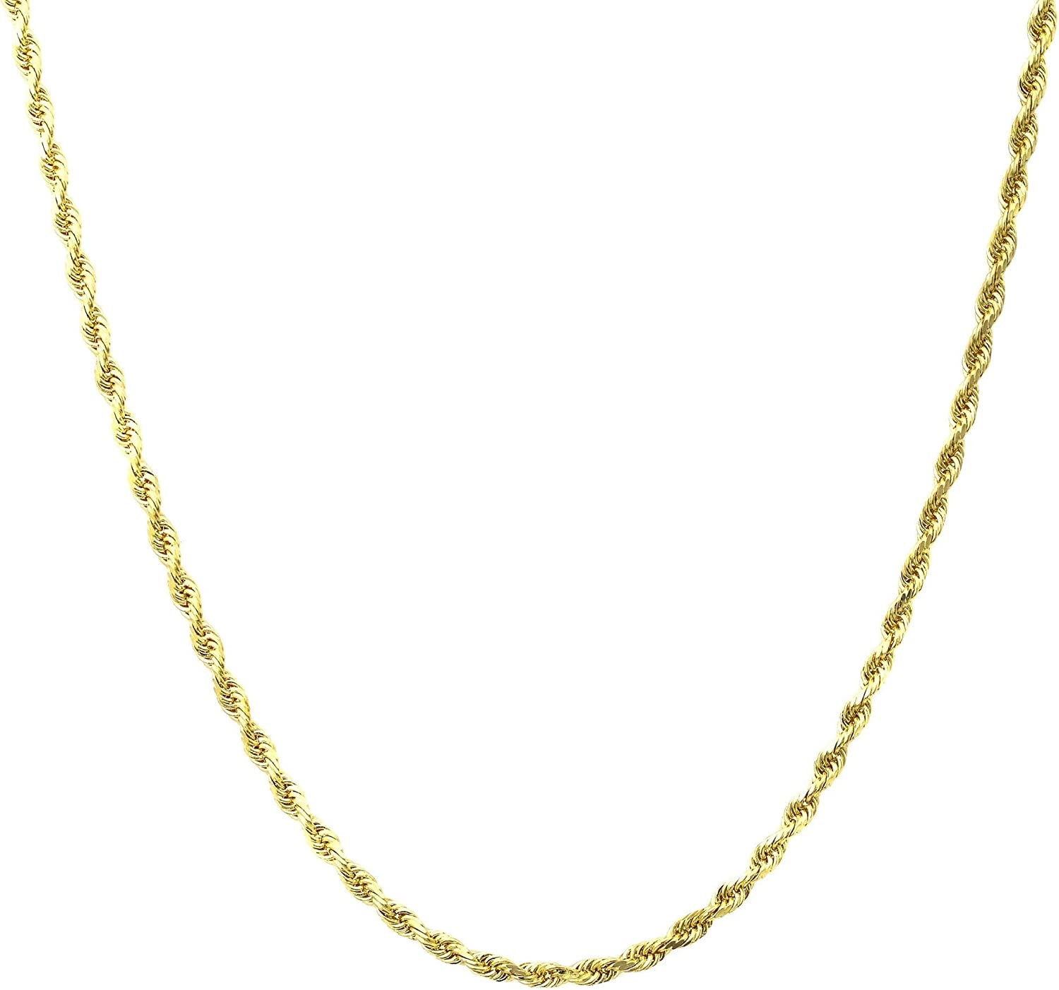 "18K Gold 1.8MM Diamond Cut Rope Chain Necklace Unisex Sizes 16""-30"" - Yellow, White, Or Rose Gold"