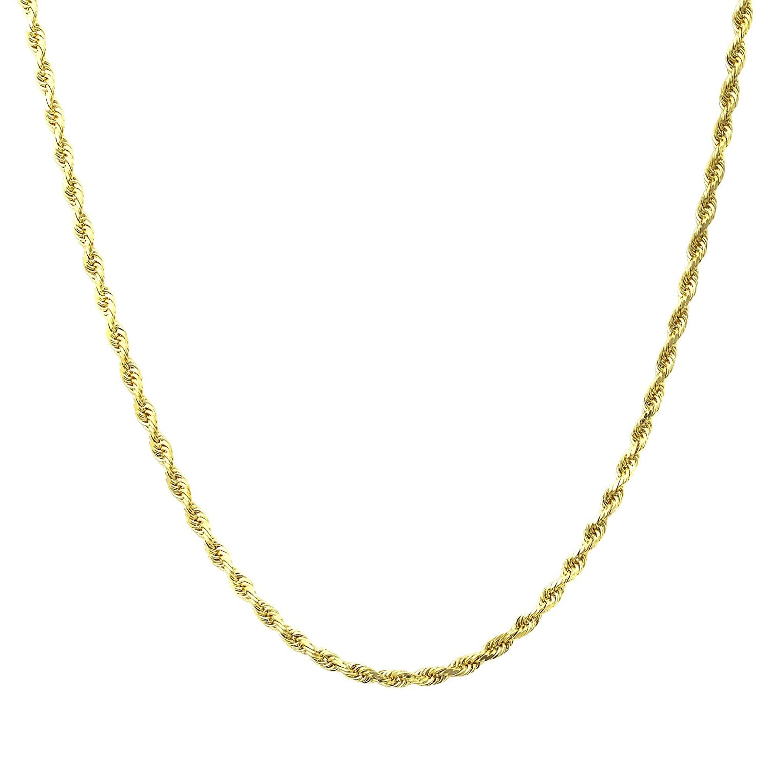 "14K Gold 1.5MM Diamond Cut Rope Chain Necklace Unisex Sizes 16""-30"""