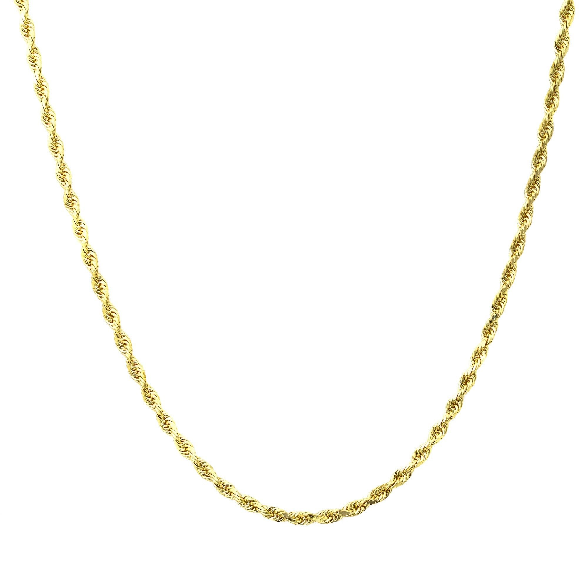 18K Yellow Gold 1.5MM Diamond Cut Rope Chain Necklace - Made in Italy -16''-24'' (22.0)