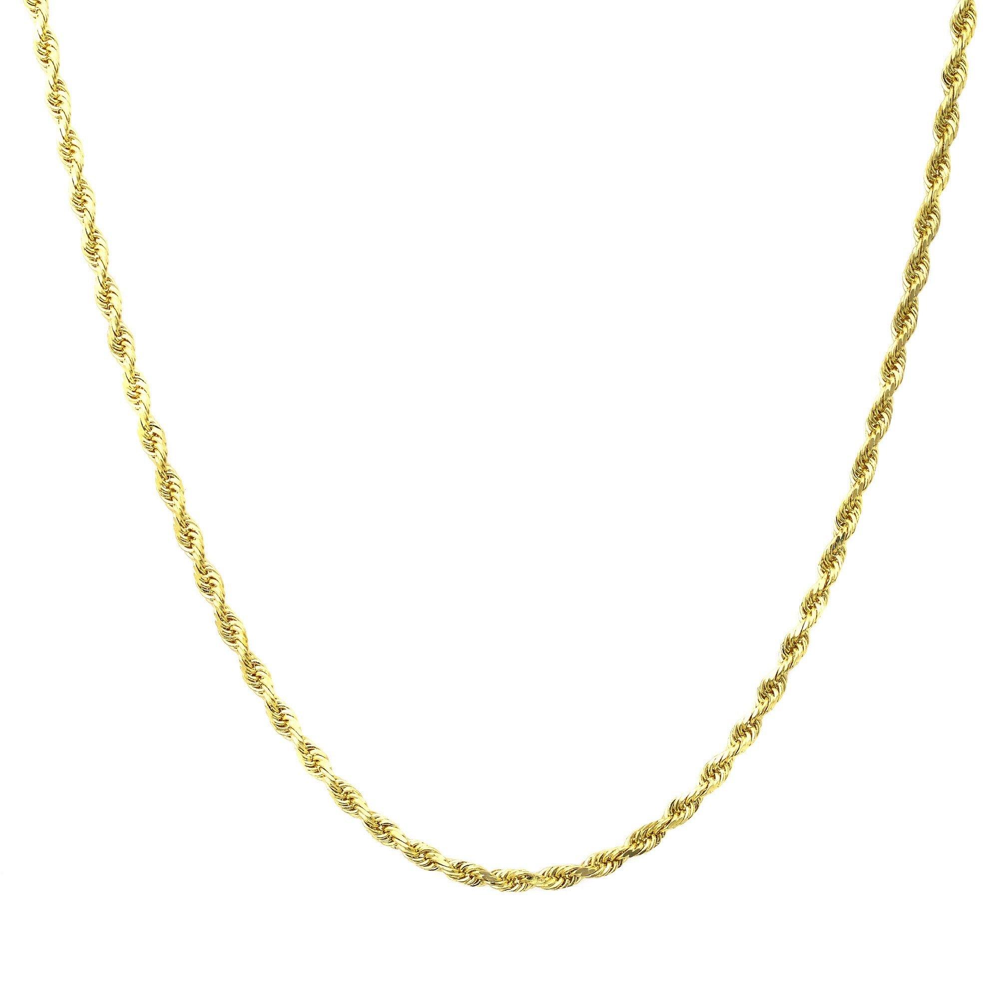 18K Gold 2MM Diamond Cut Rope Chain Necklace Unisex Sizes 16''-30'' - 18 Karat Gold… (30)