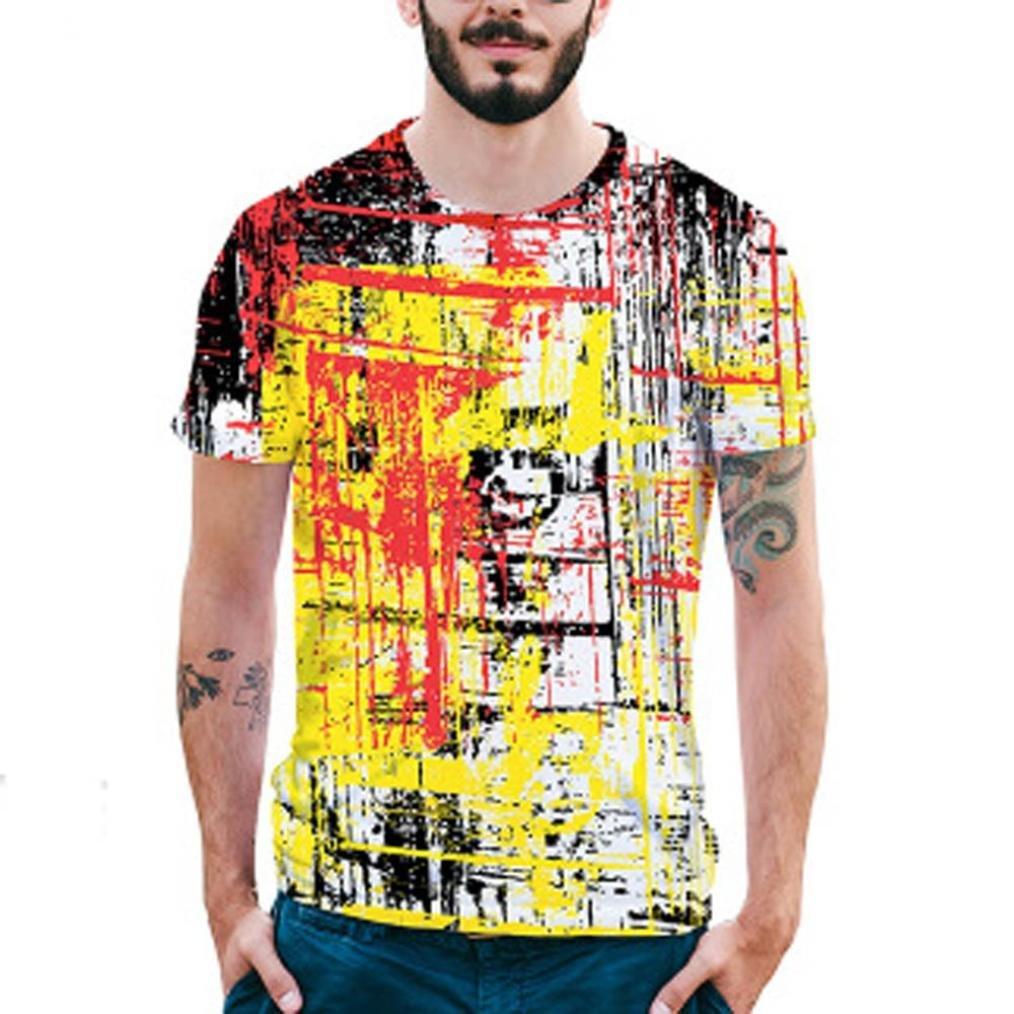 Longra Herren Bunt 3D Druck T-Shirt Sommer Tops Kurze Huuml;lsen T-Shirts T-Stuuml;cke Mauml;nner Design T-Shirt beilauml;ufige Hemd Bluse Rundhals Hawaiian Shirt T-Shirt Tees Tops  XXL|Multi Color 02
